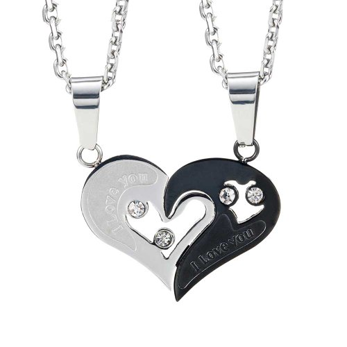 Stunning 2pcs His & Hers Couples Gift Heart Stainless