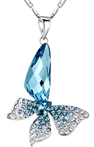 Stylized Butterfly Wing Drop Swarovski Elements Crystal Pendant Necklace (Blue and Green) 2004401
