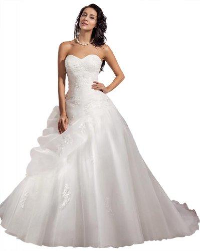 GEORGE BRIDE ELegant Strapless Ball Gown Satin Wedding Dress Size 12 White