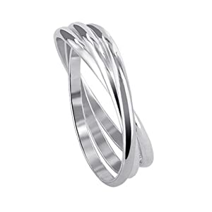 BDRS018-5 Sterling Silver Triple Band Thumbring Thumb Ring Size 5