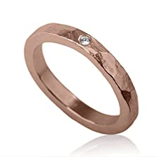 buy 14K Rose Red Gold Engagement Ring Wedding Band With A Single Diamond