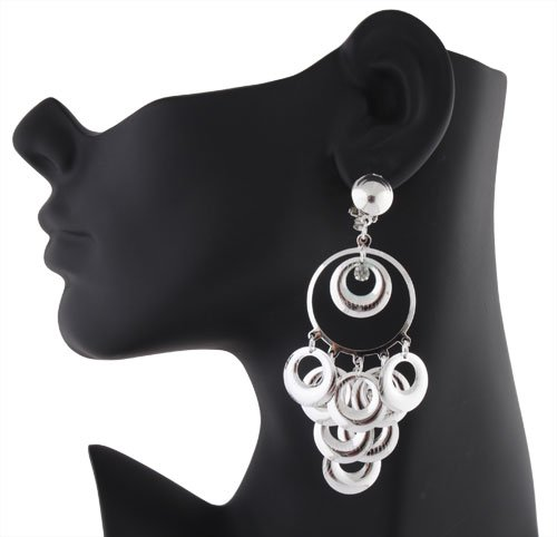 Ladies Silver Multiple Rings with Stone Clip on Earrings