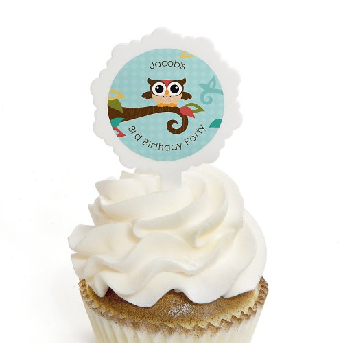 Birthday Party Cupcake Pick And Sticker Kits - Owl - Look Whooo'S Having A Birthday front-807489