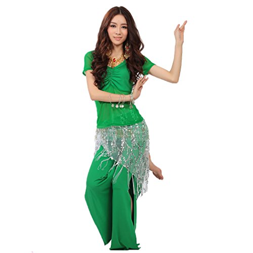 HOTER® Belly Dancing costumes--A Three-Piece, Short Sleeve Blouse Split Pants Sequins Wrap, Price/Set