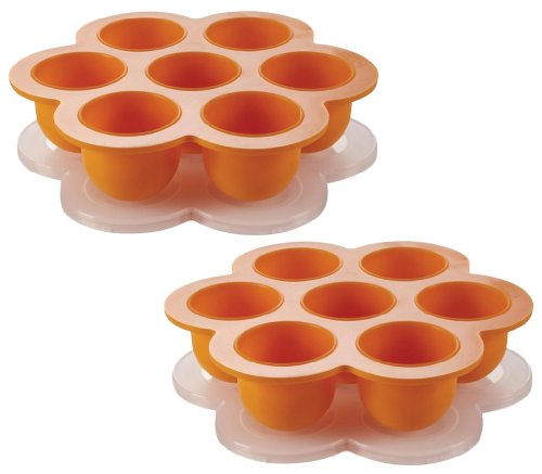 Beaba Multiportions 2Oz Cups Freezer Tray, Set Of 2, Orange