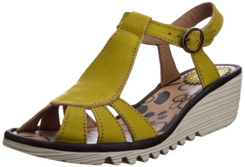 Fly London Women's Oily Lemon/Black T Straps P500384010 3 UK