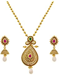 JFL - Traditional Ethnic One Gram Gold Plated Kundan Pearl Designer Pink And Green Pendant Set With Chain For...
