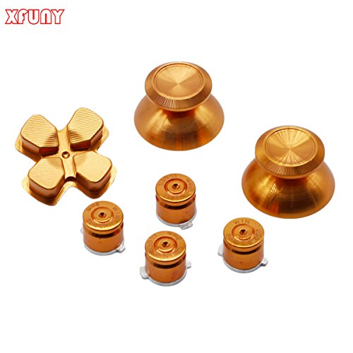 XFUNY(TM) Metal Bullet Buttons ABXY Buttons + Thumbsticks Thumb Grip and Chrome D-pad for Sony PS4 DualShock 4 Controller Mod Kit - Gold (Gold Controller compare prices)