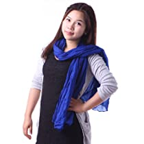 HDE Solid Color Lightweight Crinkle Scarf (Royal Blue)