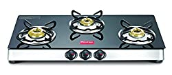 Prestige Marvel Plus Stainless Steel 3 Burner Gas Stove, Black