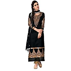 Siya Fashion women's Chanderi Party Wear Unstitched Dress Material(si59_Black color)