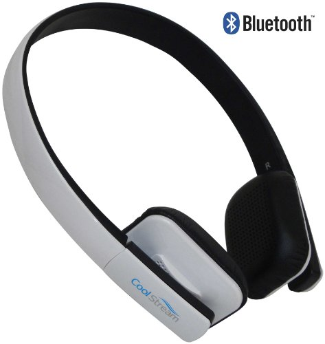 CoolStream Bluetooth 3.0 Stereo Headphones with Microphone for Apple iPhone, Samsung, LG, HTC and Bluetooth Enabled Smartphones, tablets and MP3 Players (White) Coolstream Bluetooth Headsets autotags B00D3OXHTQ