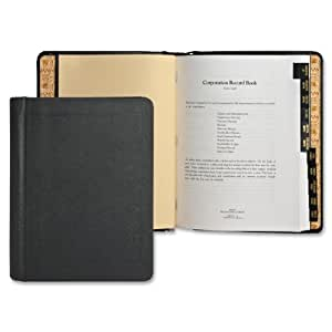 Wilson Jones Corporate Record and Minute Book, 75 Pages, 11 Index Tabs, Letter Size, Imitation Leather, Black (W0399-00)