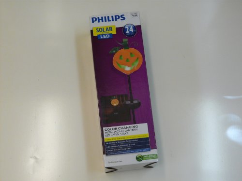 Phillips Solar Led Color Changing Lawn Stake Metal Jack-O-Lantern