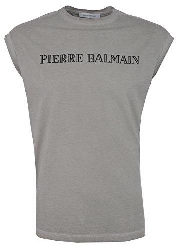 Pierre Balmain Muscle Shirt con Logo Greige uomo