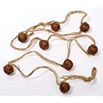 Set of 4 Rusted Metal Jingle Bell on Jute Ribbon Christmas Garlands (Total of 16 Feet!)