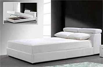 Double Bed Container in White Faux Leather for Mattress 160 x 200 cm