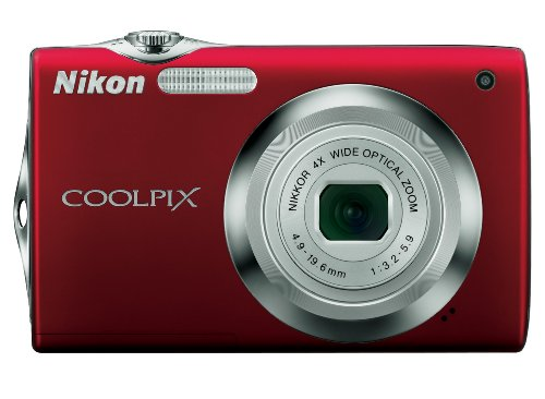 Nikon Coolpix S3000 Digitalkamera (12,0 Megapixel, 4-fach Weitwinkelzoom, 6,7cm (2,7-Zoll) Display) rot