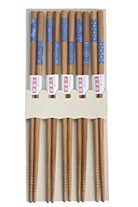 5 pairs Japanese chopsticks gift sets blue in print