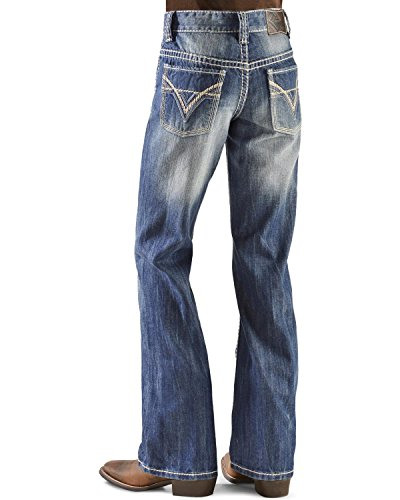 Rock & Roll Cowboy Boys' And Bb Gun Distressed Vintage Boot Cut Jeans Denim 14 front-1068060