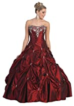 Big Sale Ball Gown Strapless Formal Prom Wedding Dress #714 (14, Burgundy)