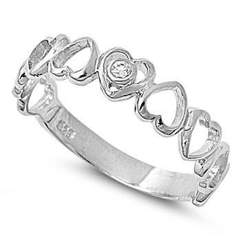 Sterling Silver Semi Eternity CZ Heart Ring (Size 4 - 9) - Size 6
