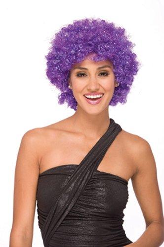 [Womens Purple Glitter Afro Wig for Halloween Costume] (Glitter Wigs)