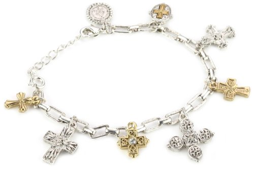 The Vatican Library Collection Two-Tone Seven Cross Charm Bracelet