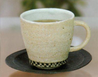 金彩市松コーヒー碗皿 【信楽焼】