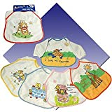 Long Sleeves Baby Bibs Easy Fastener,100% Cotton - PVC Backing - Packing: Single Pack - 6 Pcs. Assorted Colours & Designs in a Polythene Bagby JUNIOR JOY