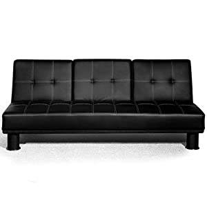 Small Double Faux Leather Sofa Bed With Fold Down Drinks Table Futon Multi Colours (Black SF13005-D01)