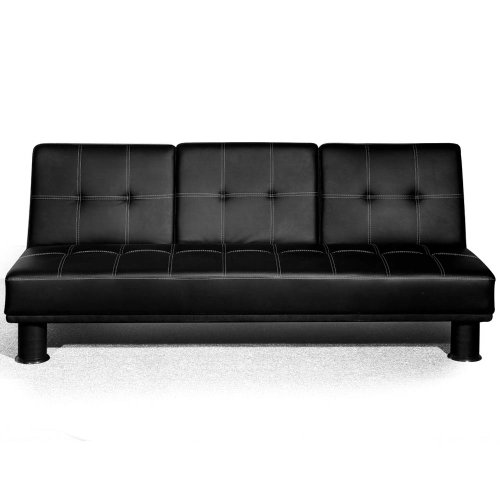 Small Double Faux Leather Sofa Bed With Fold Down Drinks Table Futon Multi Colours Black