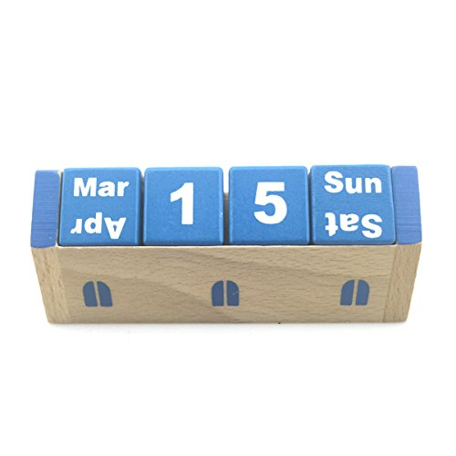 Woodows Chic Perpetual Wooden Calendar Cubes (Blue)