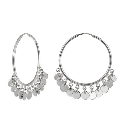 Sterling Silver Medium Tube Hoop Earrings with Multiple Polished Circle Drops