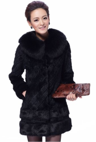 Queenshiny Long Women's 100% Real Rabbit Fur Coat with Fox Collar-Black-M(8-10)