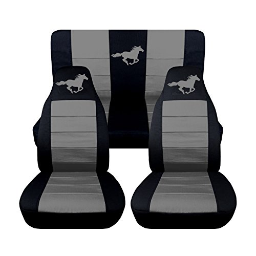 1994 to 2004 Ford Mustang Front and Rear Running Horse Seat Covers Option for a Coupe and Convertible (Convertible, Black and Silver) (Seat Covers Horses compare prices)