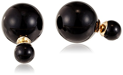 Style Fiesta Pearl Stud Earrings For Women (Black) (E343)