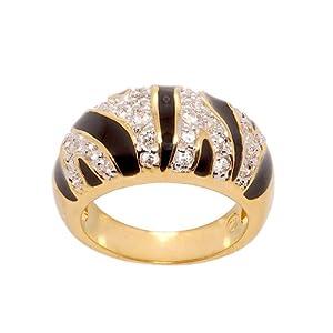 Tiger Stripe Cubic Zirconia and Black Enamel Two Tone Modified Dome Fashion Ring Size 10