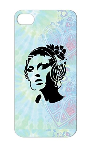 Dustproof Black For Iphone 5S A Young Woman With Headphones And A Flower In Her Hair Updo Fashion Sexy Miscellaneous Graffiti Template Stencil Hear Sound Beauty Style Music Hair Flowers Girl Hibiscus Music Sprayer Case Cover