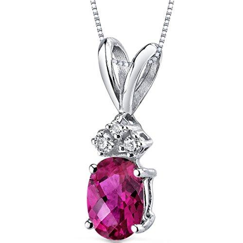 Revoni 14 Karat Weissgold Ovalschliff 1.00 Karat Rubin Diamant Anhänger Halskette