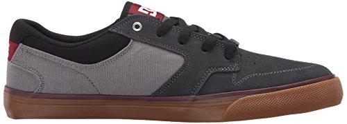 DC Men's Argosy Vulc Skate Shoe, Charcoal/Black/Red, 9 M US