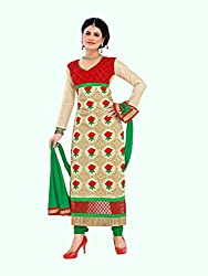 Red & Beige Embroidered Chanderi Suit