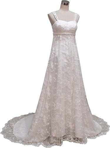 Okaybridal Women's Lace Pregnant Prom Gowns Bridal Wedding Dresses