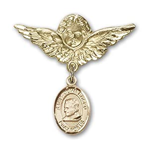 14K Gold Baby Badge with St. John Bosco Charm and Angel with Wings Badge Pin