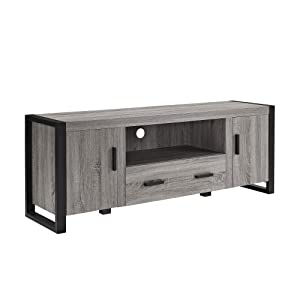 """WE Furniture 60"""" Ash Grey Wood TV Stand with Storage"""