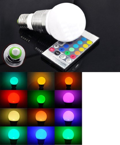 RXYYOS Farbwechsel E27 3W LED RGB Lampe Birne SMD LEDs LED Globeform Licht mit 24Key IR Remote -Fernbedienung - inklusive 16 multi colors (220lm, AC 85 - 265V, 60 X 114mm)