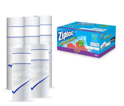 Ziploc Vacuum Seal Combo 5 Roll Pack 2 Qty 8x20 Rolls, 3 Qty 11x16 Rolls (Vacuum Seal Bags Ziploc compare prices)