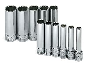 SK 1350 11 Piece 1/4-Inch Drive 12 Point 5-Millimeter to 14-Millimeter Deep Socket Set