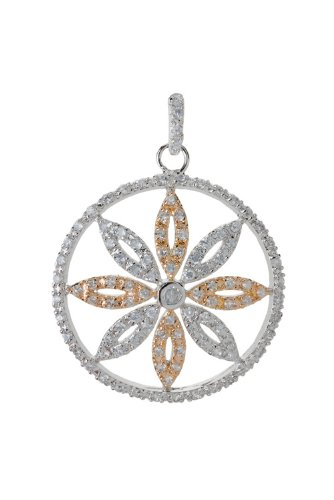 Sterling Silver & Vermeil (Gold over Silver) Simulated CZ Flower Pendant