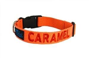 Collier pour chien en nylon réglable Rouge taille L (42 à 62 cm) + broderie personnalisée